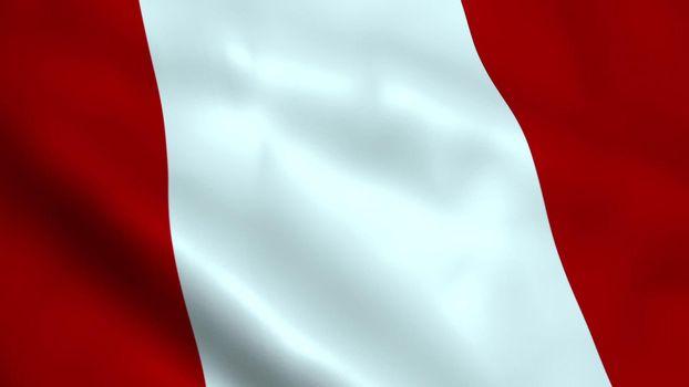 Realistic Peru flag waving in the wind.