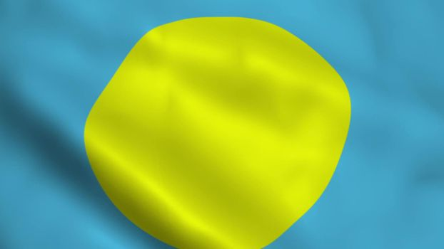 Realistic Palau flag waving in the wind.