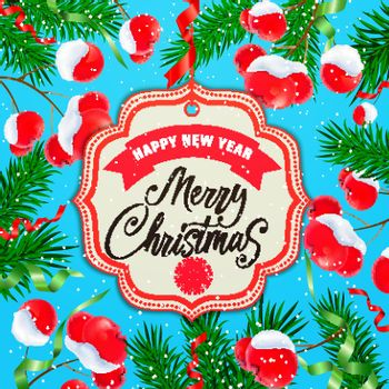 Christmas and New Year Card with Mistletoe