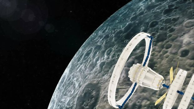 Space station flies around the moon. 3d rendering