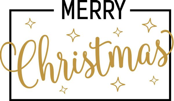 Christmas lettering with bright stars