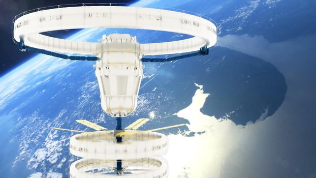 Space station flies around the panet Earth.
