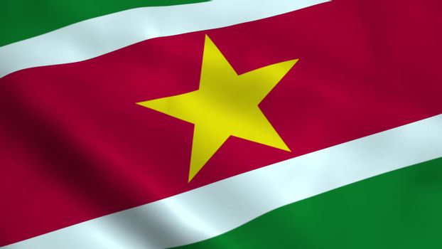 Realistic Suriname flag waving in the wind.
