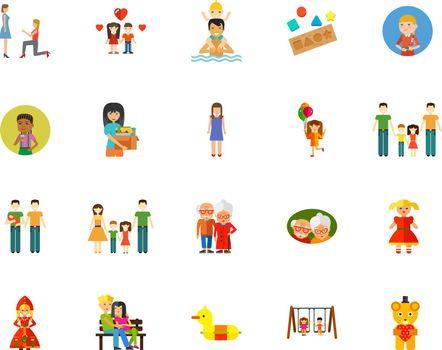 Family relationship icon set