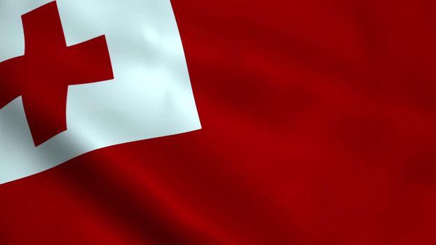 Realistic Tonga flag waving in the wind.
