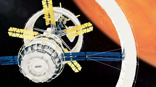 Space station flies around the Mars.