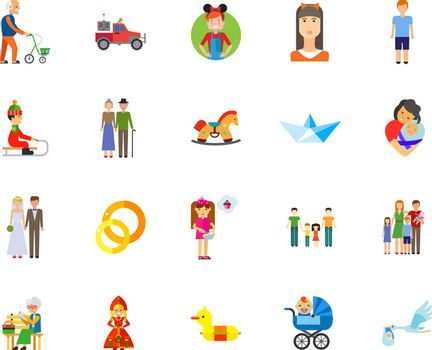 Family and marriage icon set