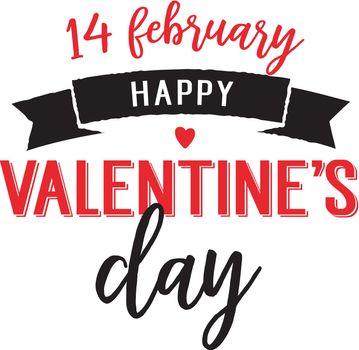 Fourteen February Valentine Day Lettering