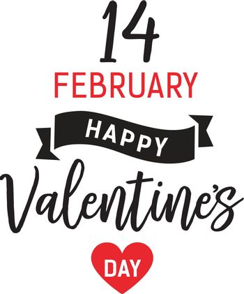 Fourteen February Valentines Day Lettering
