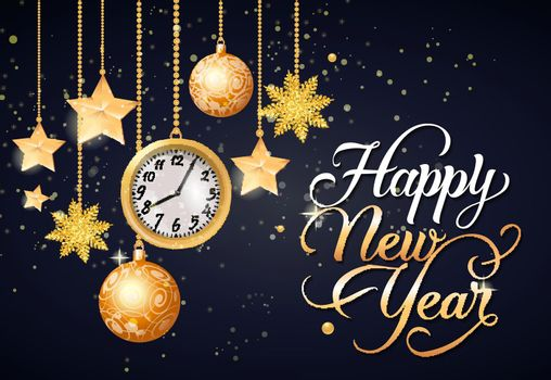 Happy New Year Calligraphic Lettering
