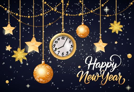 Happy New Year Inscription with Watch