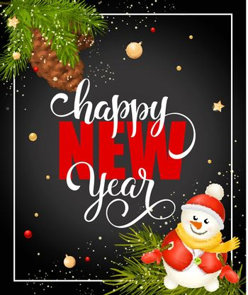 Happy New Year Lettering with Snowman