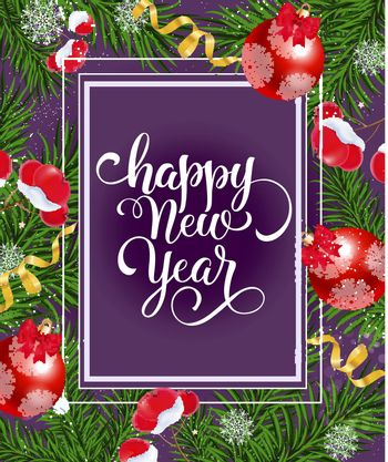 Happy New Year lettering with branches