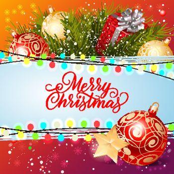 Merry Christmas Inscription with Swirls