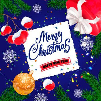 Merry Christmas lettering on paper