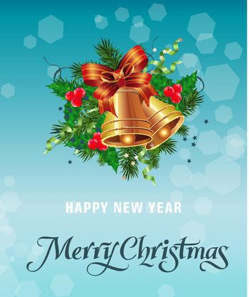 Merry Christmas lettering with bells