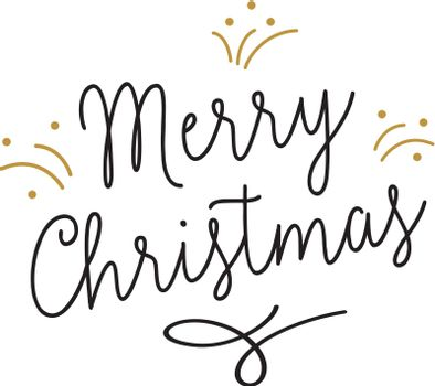 Merry Christmas lettering with sparkles