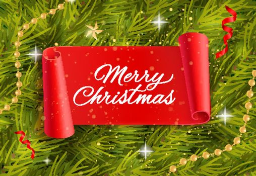Merry Christmas lettering with twigs