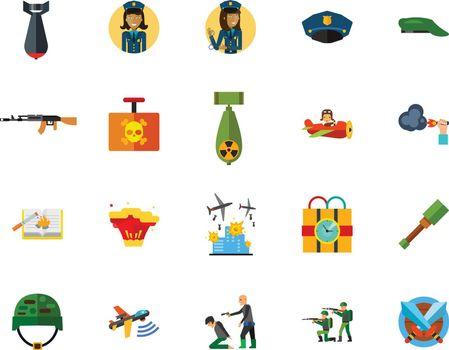 War and terror creative icon set