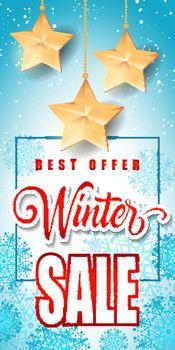 Winter Sale Inscription with Stars