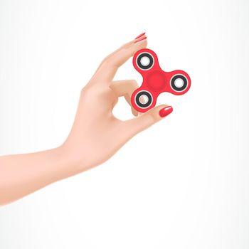 Fidget Spinner in Female Arm Illustration