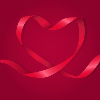 Heart Shaped Red Ribbon Illustration