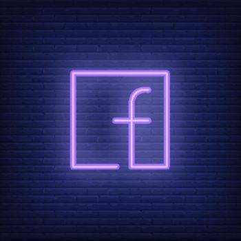 Letter F in square neon sign