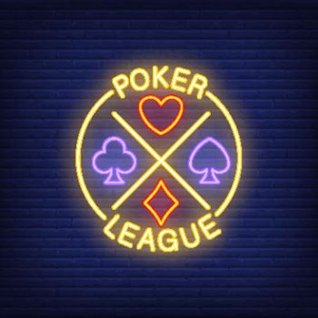 Poker league lettering with suits. Neon icon on brick background