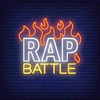 Rap battle neon text and fire