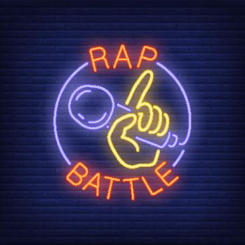 Rap battle neon text and hand holding microphone