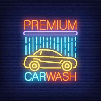 Premium carwash neon text and automobile under shower