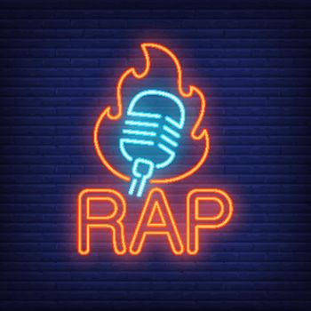 Rap neon word and microphone in flame outline