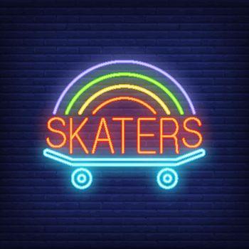 Skaters neon word on skateboard logo