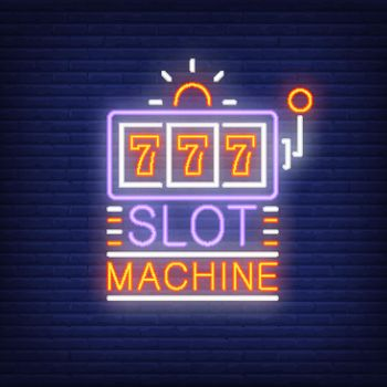 Slot machine colorful neon sign
