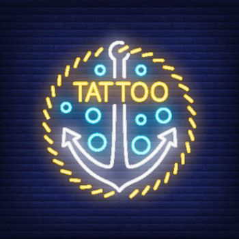 Tattoo neon word and anchor sign