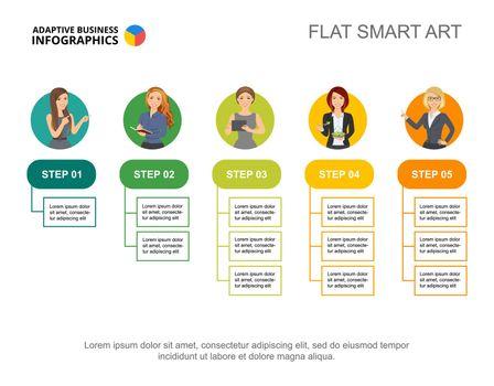 Five flowchart infographic design