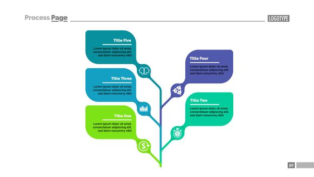 Five leaves tree metaphor process chart template for presentation