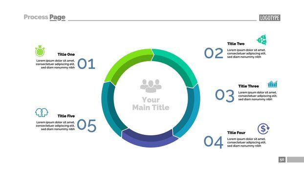 Five Steps Cycle Diagram Slide Template