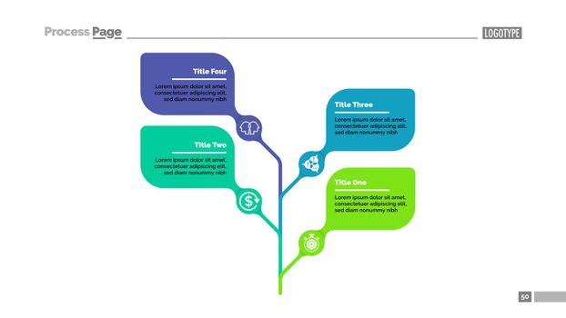 Four leaves tree metaphor process chart template for presentation