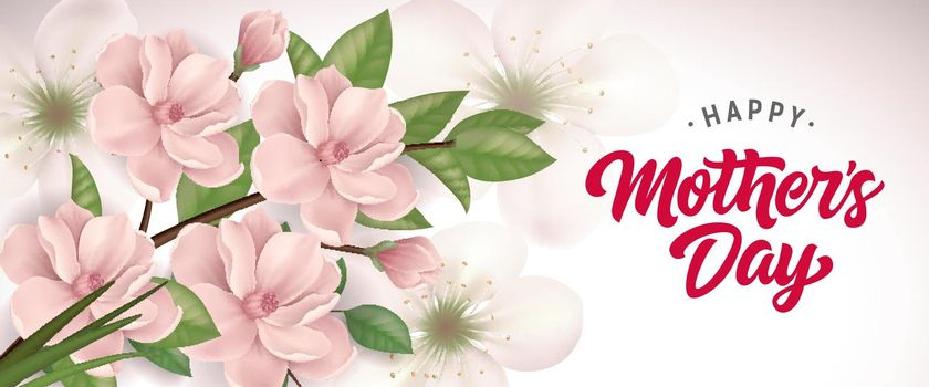 Happy Mother Day lettering with blooming twig