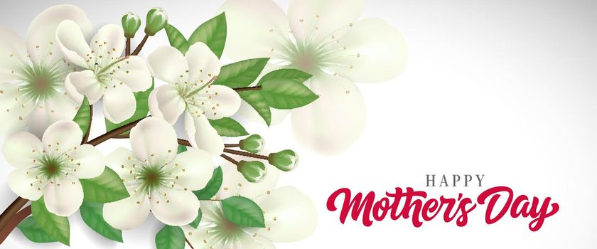 Happy Mother Day lettering with blossoming twig