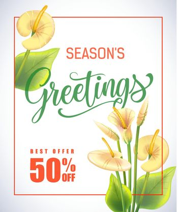 Seasons Greeting lettering in frame with arum lilies