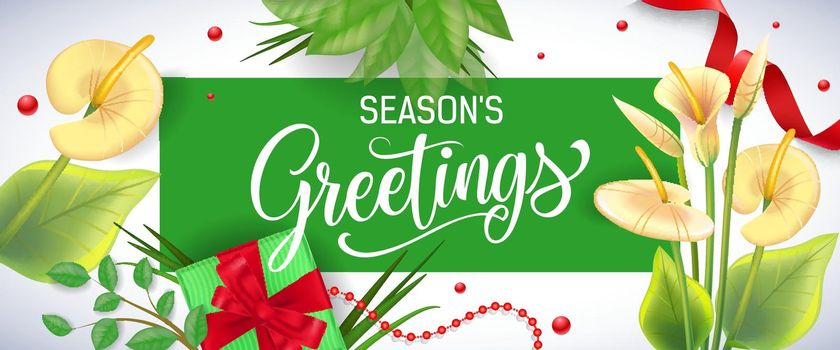 Seasons Greetings lettering in green frame with arum lilies