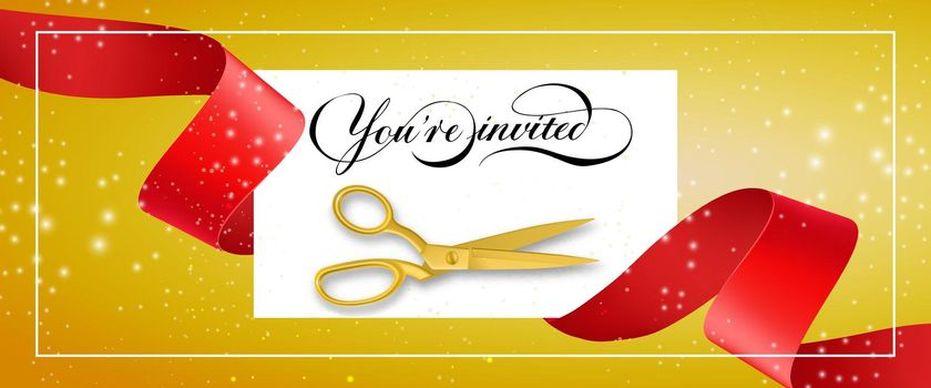 You are invited glittering banner design with frame