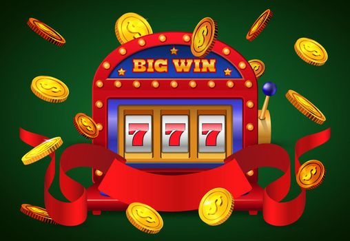 Big win inscription, slot machine and flying golden coins