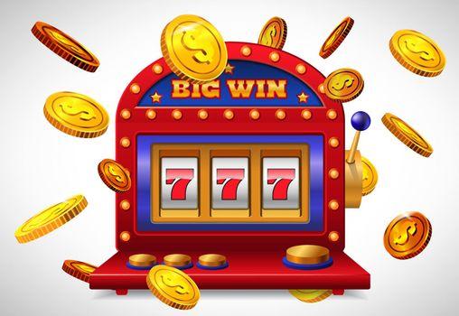 Big win lettering, lucky seven slot machine