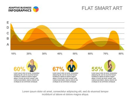 Business infographics with area chart and character icons