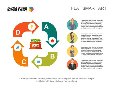 Business infographics with cycle chart and businesspeople icons