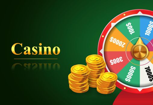 Casino lettering, wheel of fortune with money prizes bets