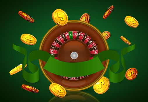 Casino roulette, flying golden coins and green ribbon